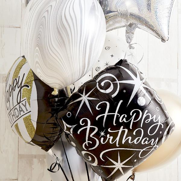シンプルモノトーン×ゴールドHappy Birthday バルーン[5]