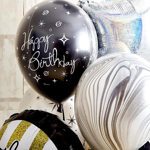 シンプルモノトーン×ゴールドHappy Birthday バルーン[6]