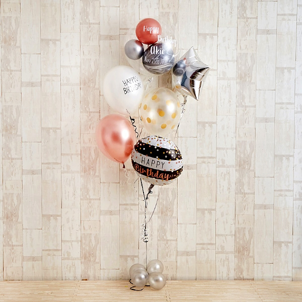 ローズピンク×シルバーの個性派Happy Birthday[2]