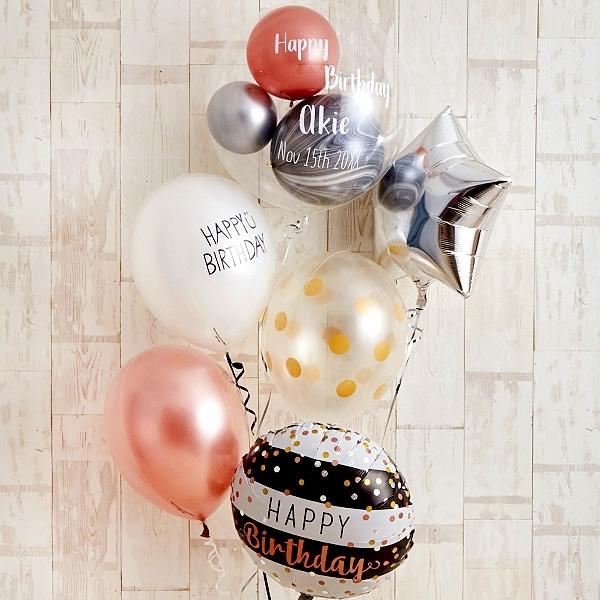 ローズピンク×シルバーの個性派Happy Birthday