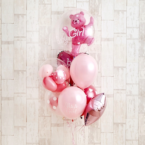 Floting Bear Pink Baby Shower