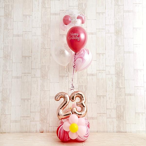 フラワーがちょこんと可愛いHappy birthdayバルーン