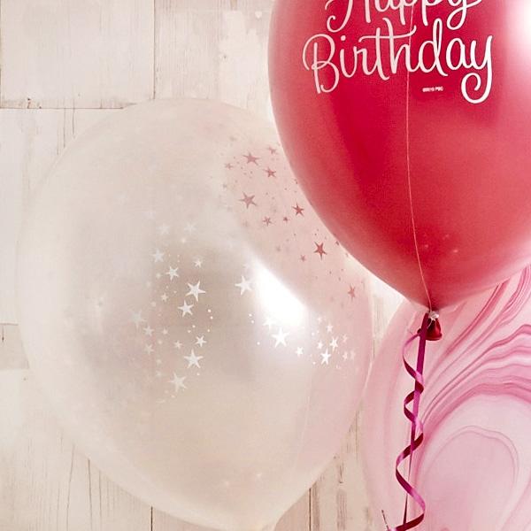 フラワーがちょこんと可愛いHappy birthdayバルーン[7]